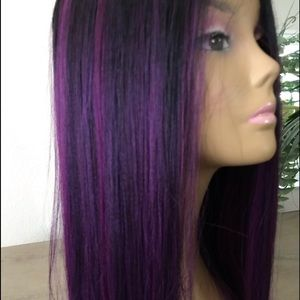 Purple black blended ombré straight layered wig